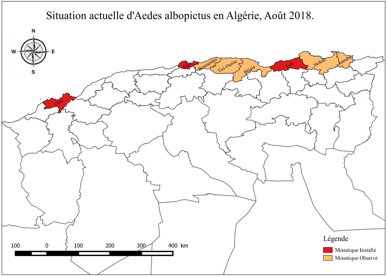 Distribution du moustique tigre en 2018